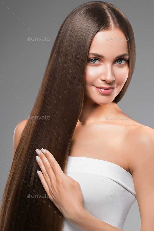 Smooth hair woman long brunette hair beauty hairstyle model - Stock Photo - Images