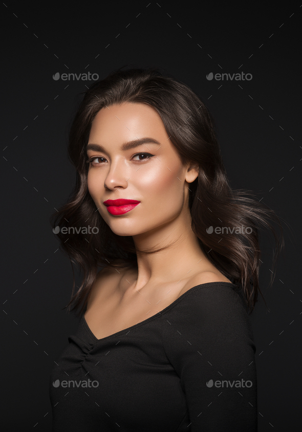 Asian beauty  woman face fashion makeup red lipstick - Stock Photo - Images
