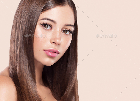Beauty woman healthy skin concept natural makeup beautiful model girl face over pink background - Stock Photo - Images