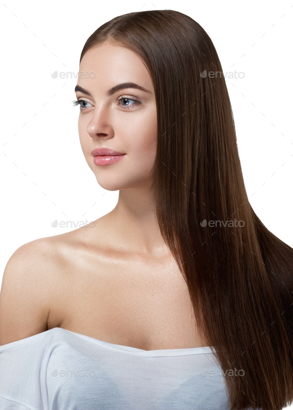 Beautiful long hair brunette woman with beauty hairstyle female model - Stock Photo - Images