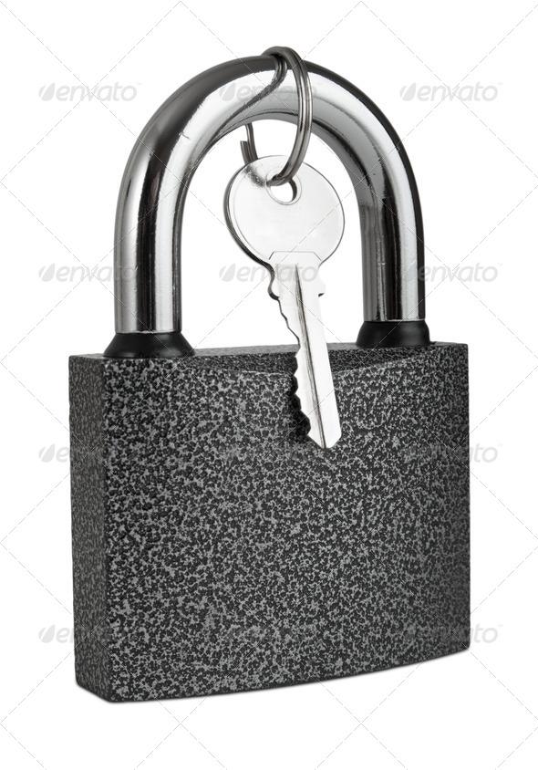 padlock  isolated on white - Stock Photo - Images