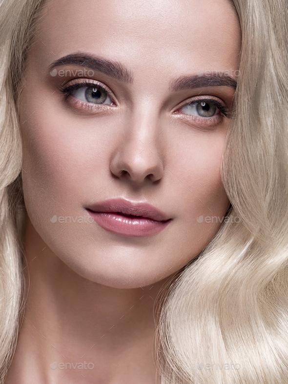 Blonde platinum hair woman beauty face portrait - Stock Photo - Images