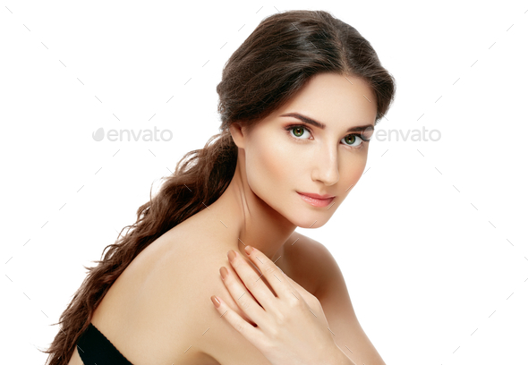 Beautiful Woman Face Portrait Beauty Skin Care Concept. Fashion Beauty Model isolated on white - Stock Photo - Images