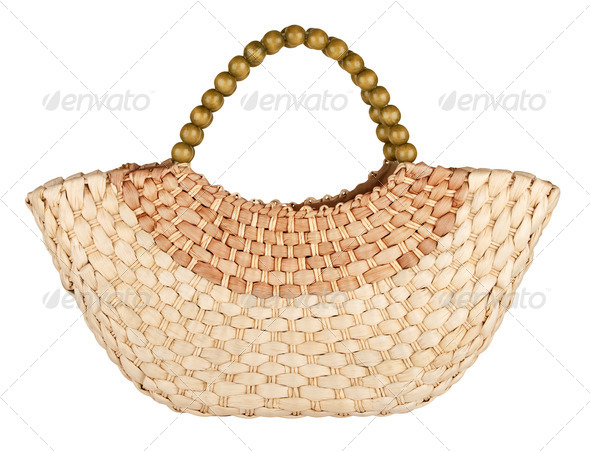 wattled straw bag - Stock Photo - Images
