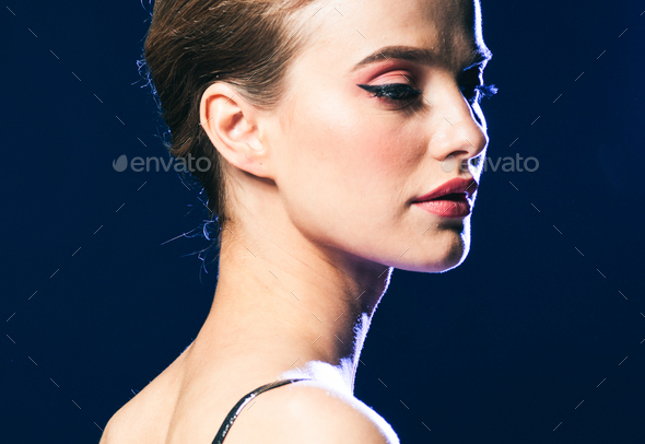 Woman night lights party glamour fashion portrait beautiful female - Stock Photo - Images