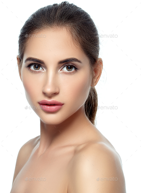 Beautiful woman withnatural make up casual daylycosmetic skin care concept - Stock Photo - Images
