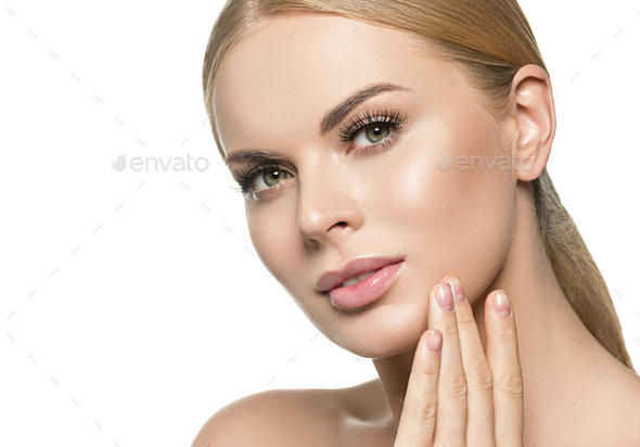 Blonde beauty young happy woman with healthy skin and beautiful hairstyle female girl model portrait - Stock Photo - Images