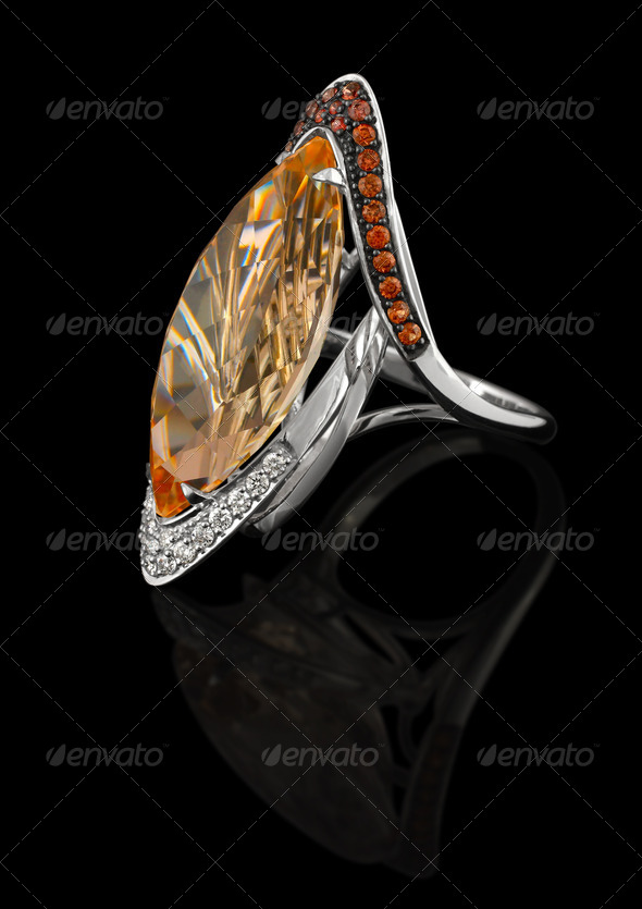 Precious Ring with brilliants and with topaz - Stock Photo - Images