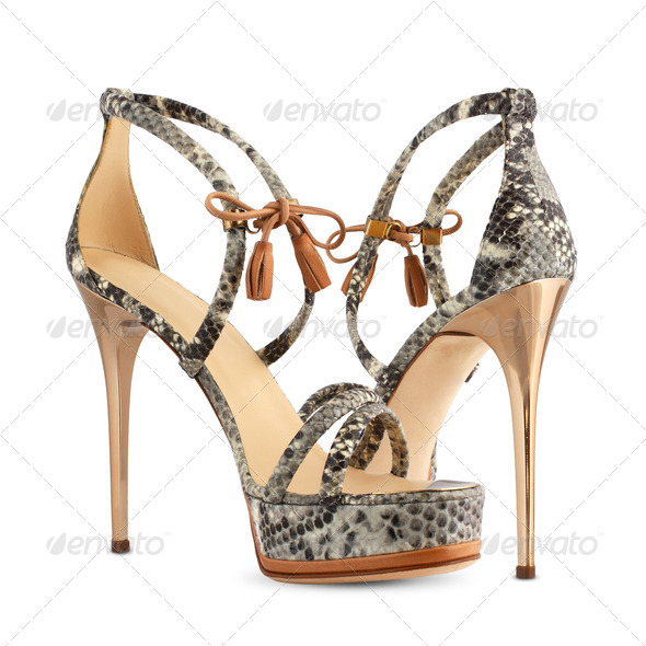 Women's shoes of snakeskin high heels - Stock Photo - Images