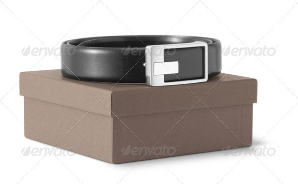 Man's black belt - Stock Photo - Images