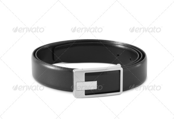 men's black leather strap - Stock Photo - Images