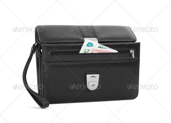 Man's leather purse with money - Stock Photo - Images