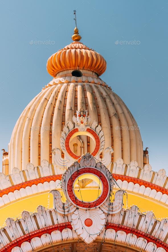 Mapusa, Goa, India. The Shree Ganesh Mandir, Ganeshpuri Temple. Famous Landmark And Popular - Stock Photo - Images