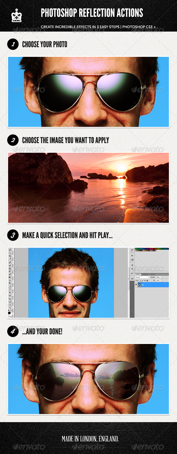 Photoshop Reflection Actions - Photo Effects Actions