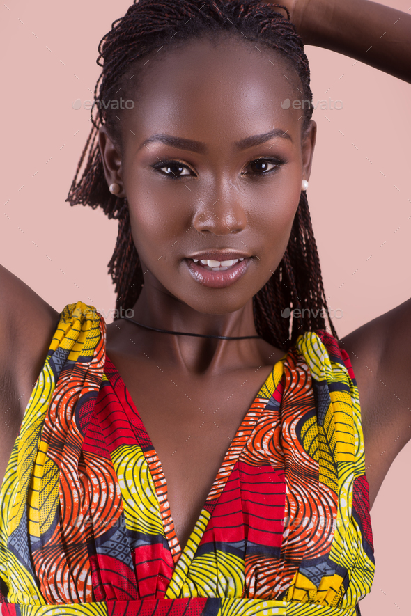 Potrait of a young Black African woman,model of fashion - Stock Photo - Images
