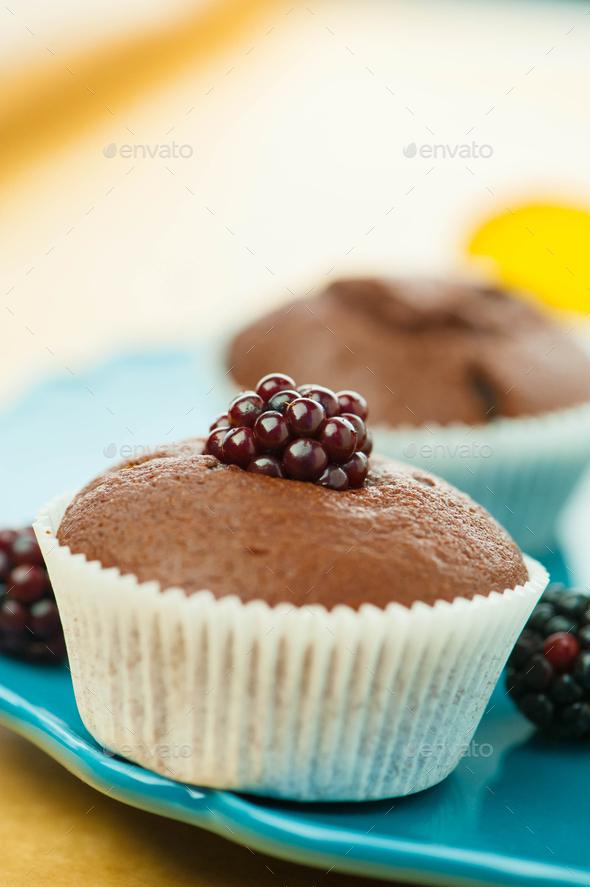 Muffins chocolate dessert - Stock Photo - Images