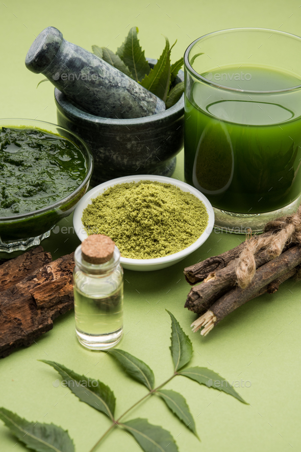 Ayurvedic Neem Or Azadirachta Indica & it's by-products - Stock Photo - Images