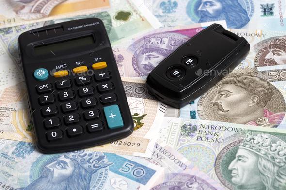 Car key on a Polish money - Stock Photo - Images