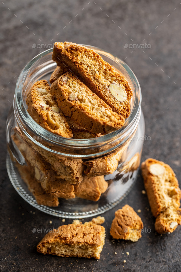 Sweet italian cantuccini cookies. Almonds biscuits. - Stock Photo - Images