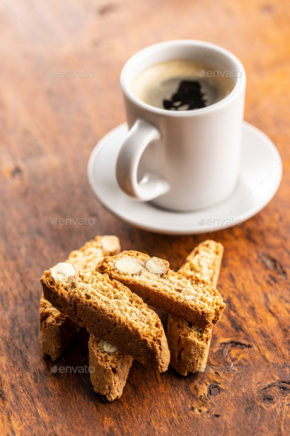Sweet italian cantuccini cookies. Almonds biscuits with coffee. - Stock Photo - Images
