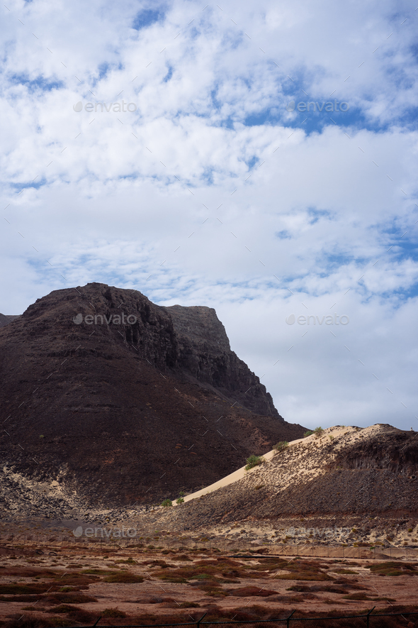 Sao Vicente Cape Verde. Surreal mars like landscape with majestic red volcano crater surrounded by - Stock Photo - Images