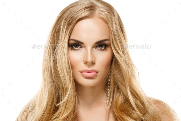Long blond hair woman beautyskin - Stock Photo - Images