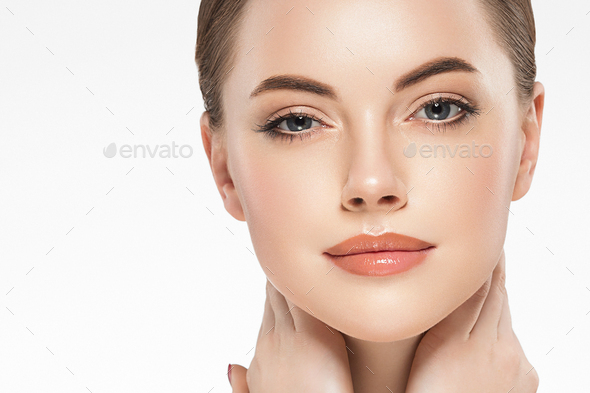 Beauty woman face clean healthy skin natural make - Stock Photo - Images
