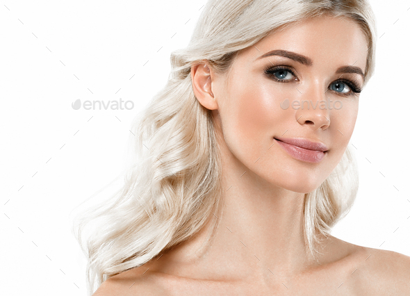 Beautiful female woman clean skin cosmetic spa portrait - Stock Photo - Images