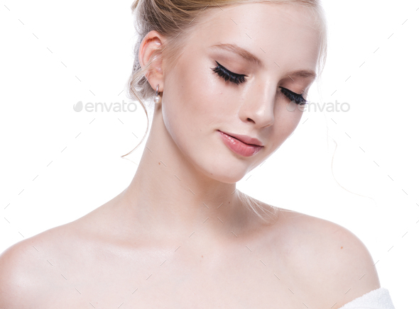 Beauty make up woman face lashes natural skin tone - Stock Photo - Images