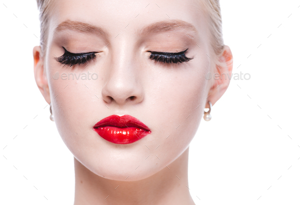 Beauty woman lashes face red lipstick - Stock Photo - Images