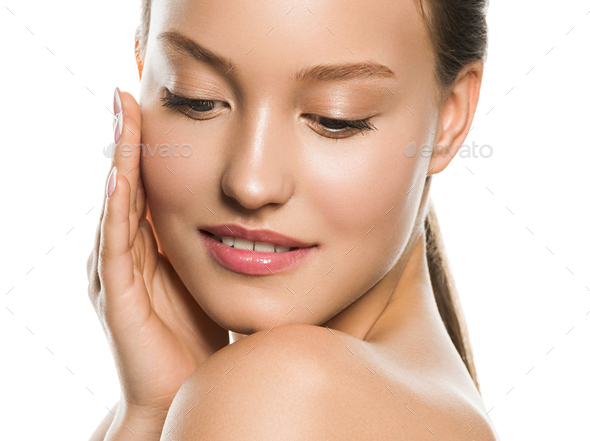 Woman face close up beauty macro eyes lips skin tone - Stock Photo - Images