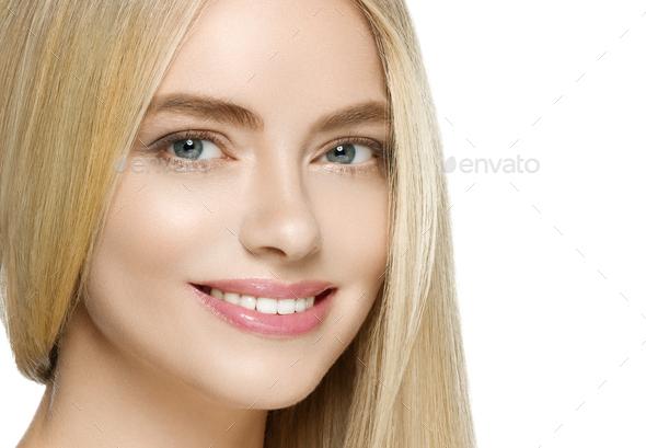 Teeth smile woman long blonde hair healthy skin - Stock Photo - Images