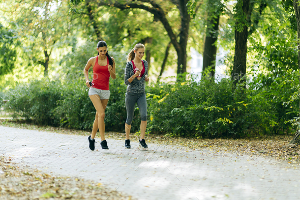Athletic women jogging in nature - Stock Photo - Images