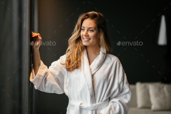 Beautiful glamorous woman in bathrobe - Stock Photo - Images
