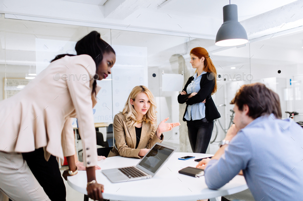Business people meeting at round table - Stock Photo - Images