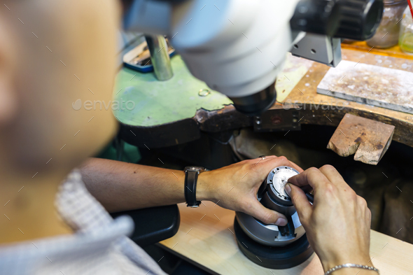 Professional jeweler working - Stock Photo - Images