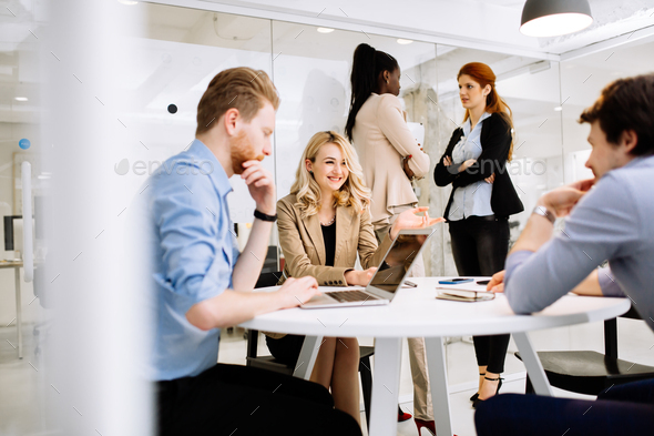 Creative business people brainstorming - Stock Photo - Images