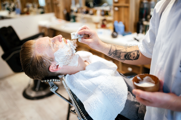 Male in barber shop - Stock Photo - Images