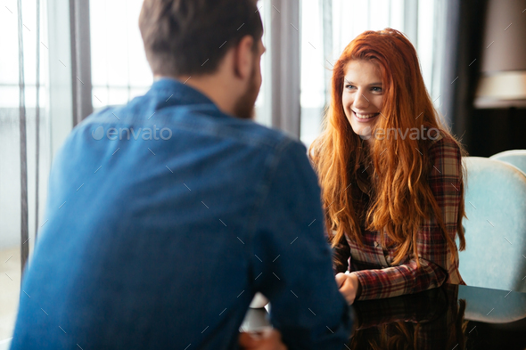 Happy woman dating handsome man - Stock Photo - Images