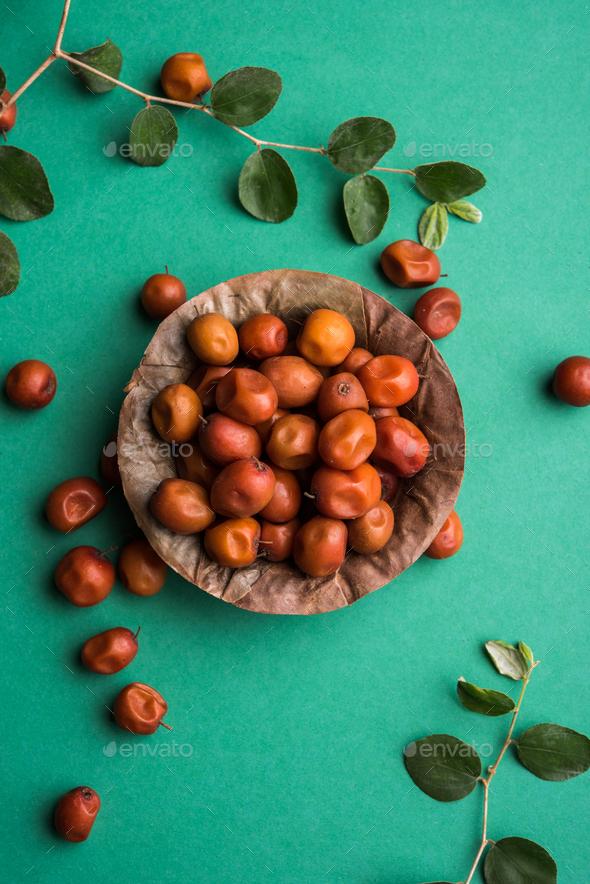 Indian Jujube / Ber / Berry / Ziziphus Mauritiana - Stock Photo - Images