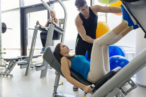 Beautiful woman doing leg exercises - Stock Photo - Images