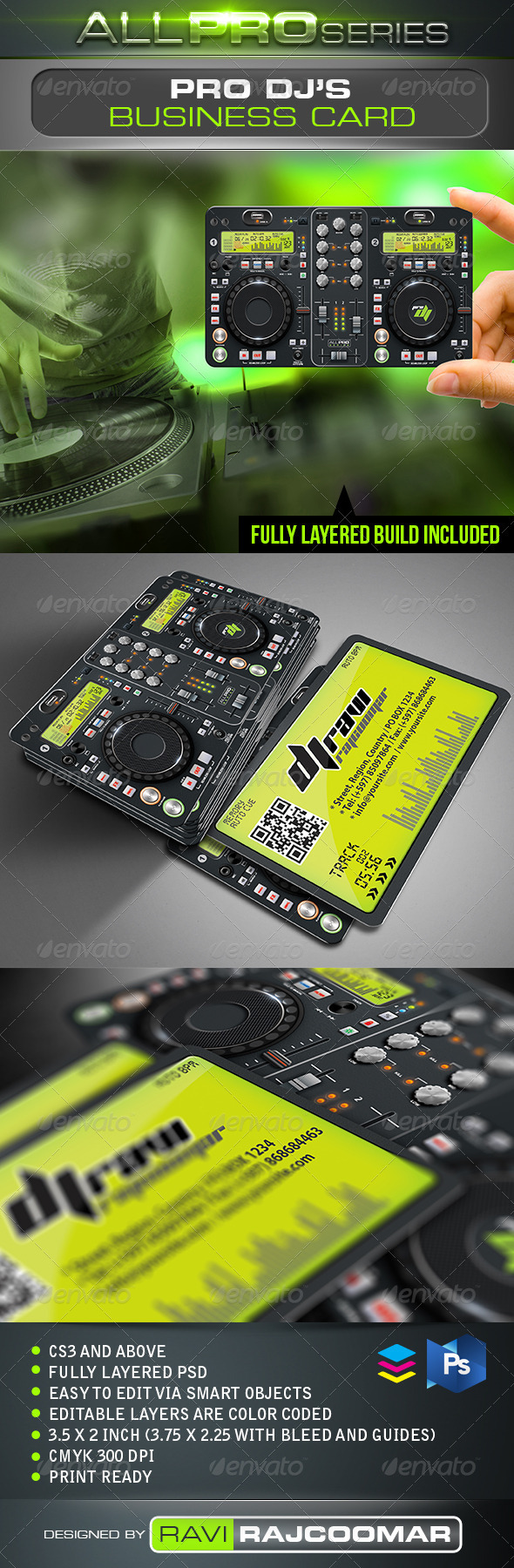 Pro DJ Business Card - Industry Specific Business Cards