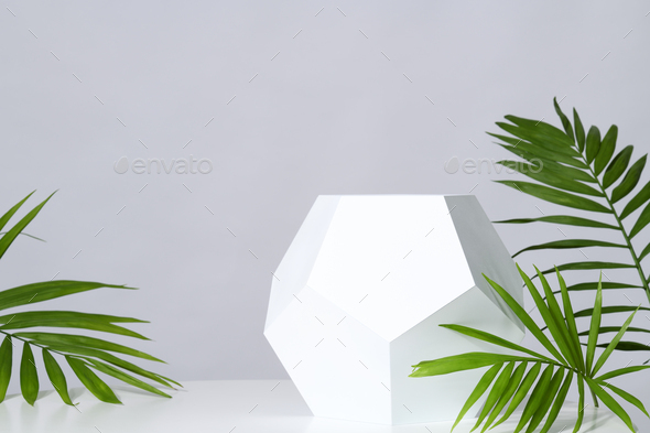 Mockup with geometric stand - Stock Photo - Images