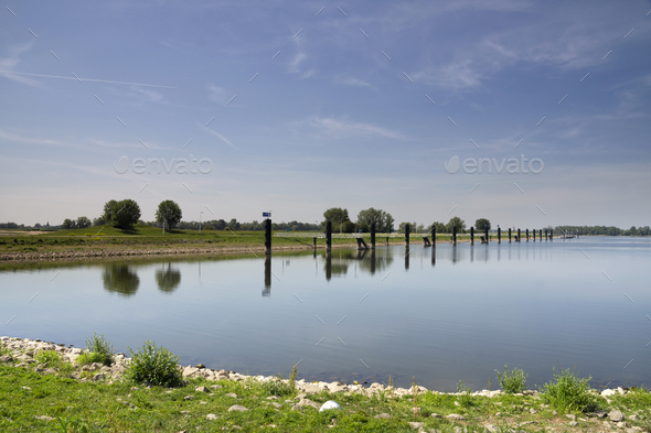Harbour in the river Waal - Stock Photo - Images