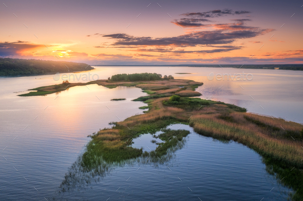 Aerial view of beautiful small islands on the river - Stock Photo - Images