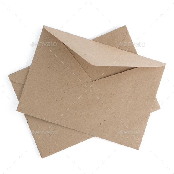 Recycled brown paper craft envelope isolated on white background - Stock Photo - Images