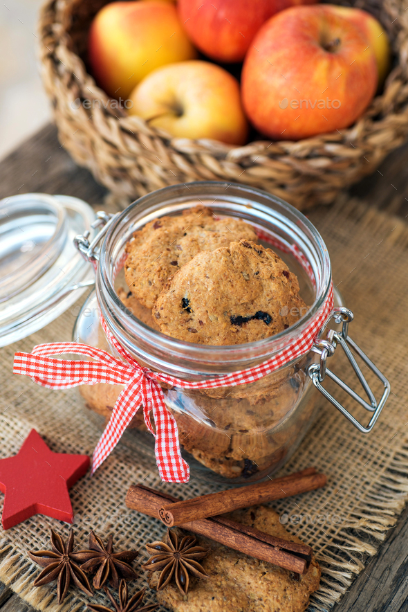 Whole grain Christmas cookies - Stock Photo - Images