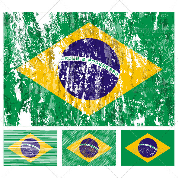 Brazil grunge flag set - Travel Conceptual