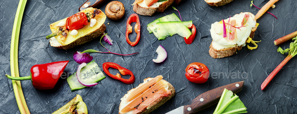 Bruschetta with grilled vegetables. - Stock Photo - Images