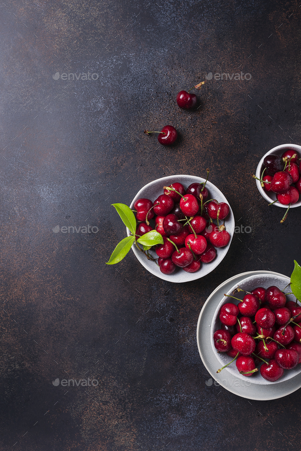 Top view of sweet fresh cherry - Stock Photo - Images